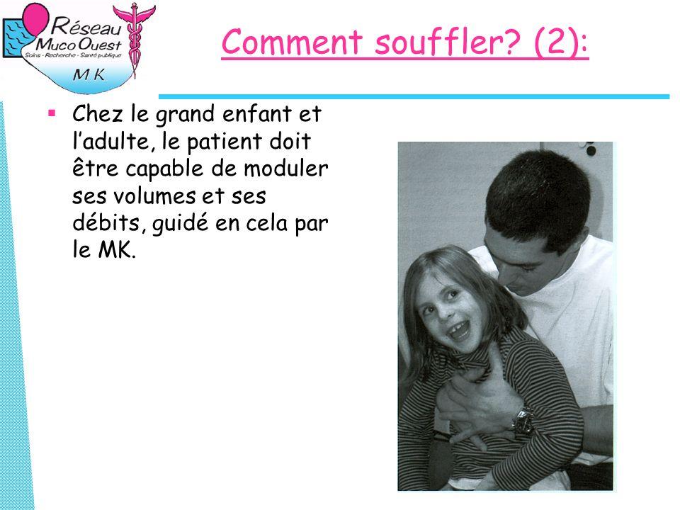 Comment souffler? (2): Chez le grand enfant et ladulte, le patient doit être capable de moduler ses volumes et ses débits, guidé en cela par le MK.