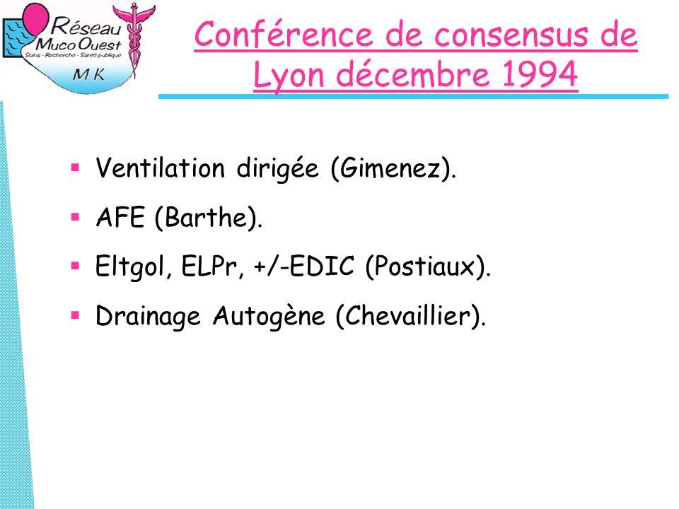 Conférence de consensus de Lyon décembre 1994 Ventilation dirigée (Gimenez). AFE (Barthe). Eltgol, ELPr, +/-EDIC (Postiaux). Drainage Autogène (Chevai