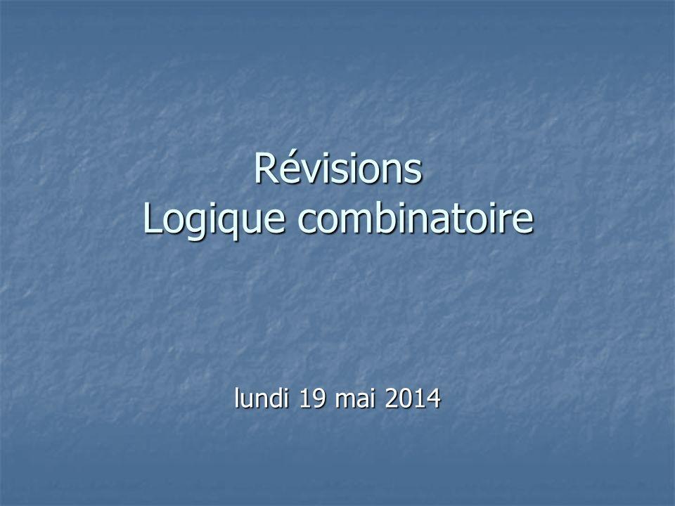 Révisions Logique combinatoire lundi 19 mai 2014lundi 19 mai 2014lundi 19 mai 2014lundi 19 mai 2014