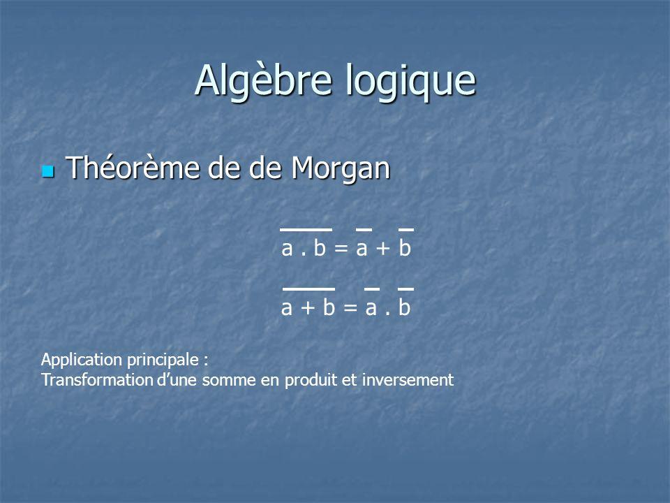 Algèbre logique Théorème de de Morgan Théorème de de Morgan a. b = a + b a + b = a. b Application principale : Transformation dune somme en produit et