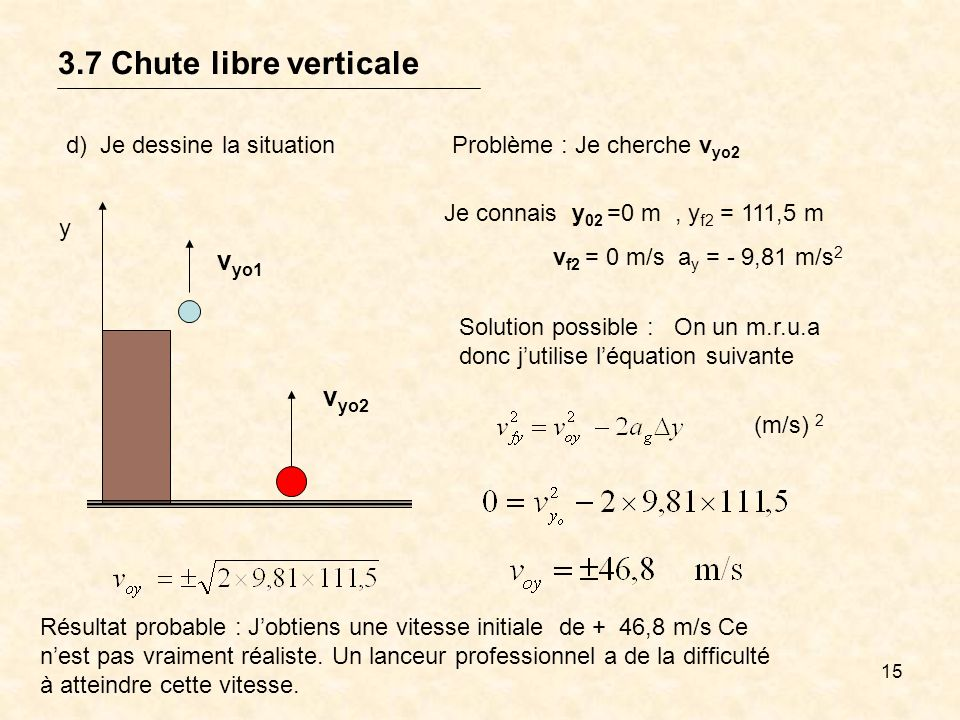 15 3.7 Chute libre verticale y v yo1 v yo2 d) Je dessine la situationProblème : Je cherche v yo2 Je connais y 02 =0 m, y f2 = 111,5 m v f2 = 0 m/s a y