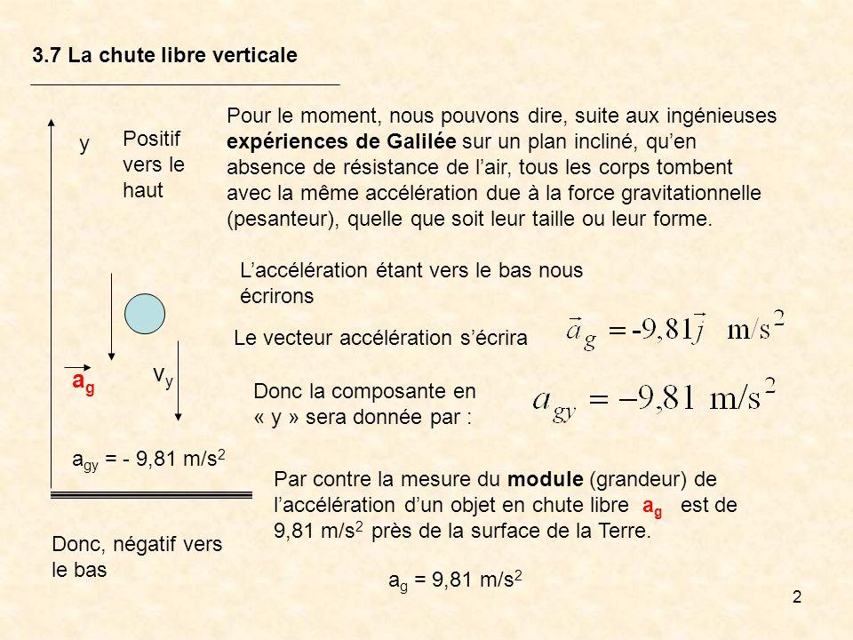 2 3.7 La chute libre verticale Pour le moment, nous pouvons dire, suite aux ingénieuses expériences de Galilée sur un plan incliné, quen absence de ré