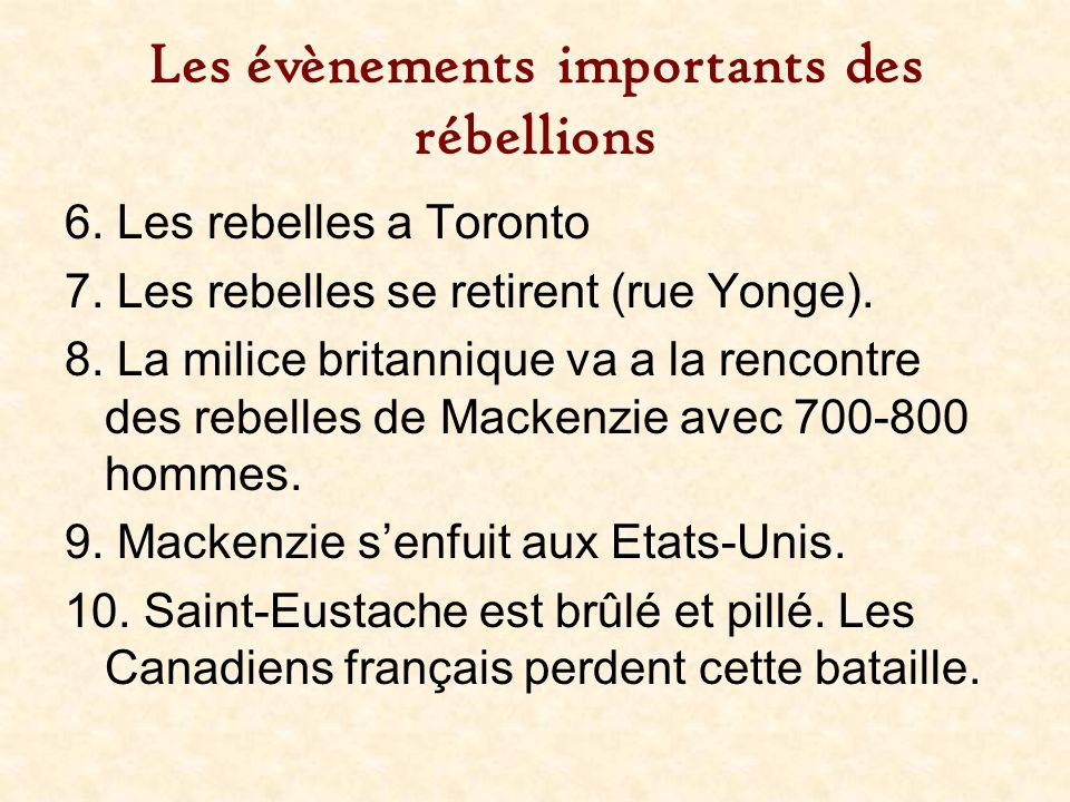 Les évènements importants des rébellions 6. Les rebelles a Toronto 7. Les rebelles se retirent (rue Yonge). 8. La milice britannique va a la rencontre