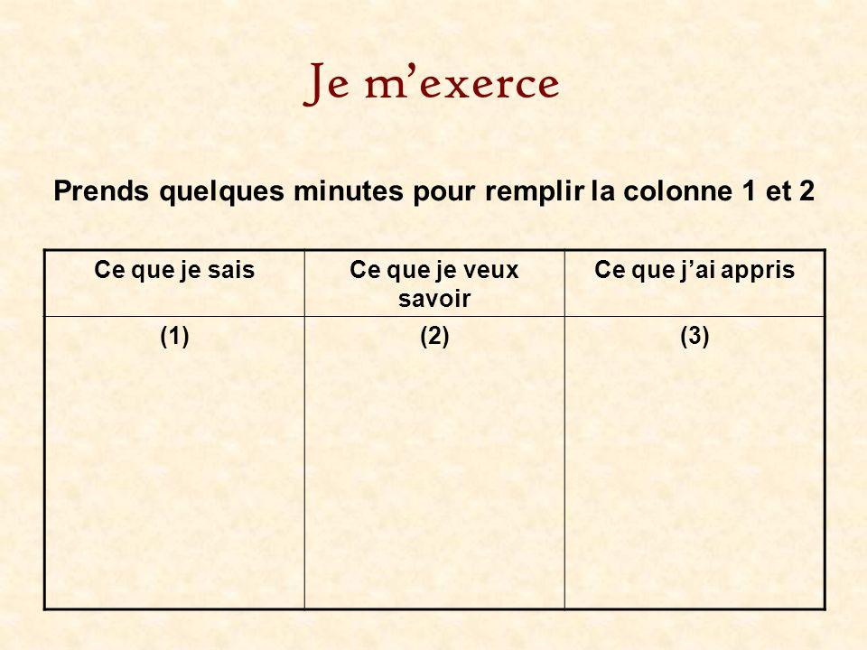 Je mexerce Ce que je saisCe que je veux savoir Ce que jai appris (1)(2)(3) Prends quelques minutes pour remplir la colonne 1 et 2