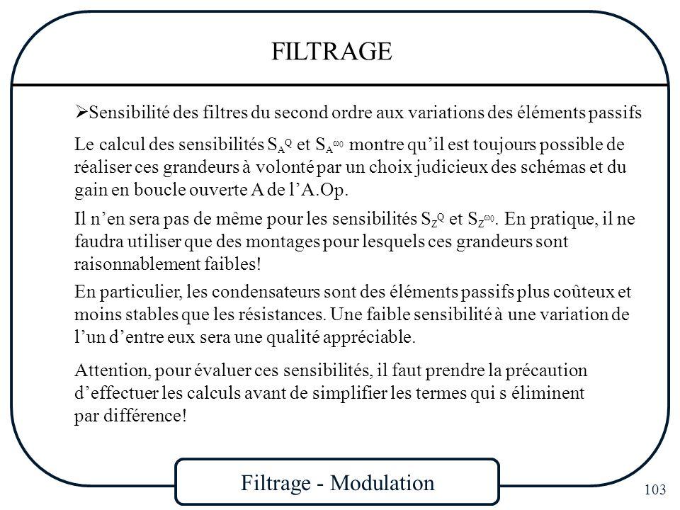 Filtrage - Modulation 103 FILTRAGE Sensibilité des filtres du second ordre aux variations des éléments passifs Le calcul des sensibilités S A Q et S A