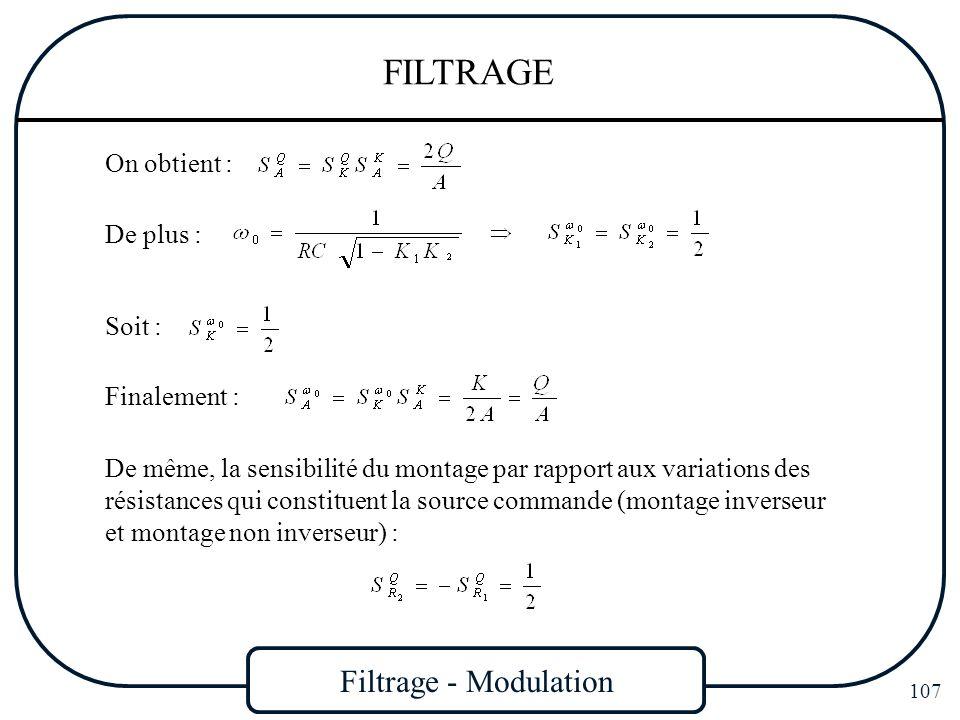 Filtrage - Modulation 107 FILTRAGE On obtient : Soit : Finalement : De plus : De même, la sensibilité du montage par rapport aux variations des résist