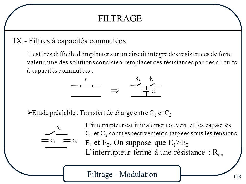 Filtrage - Modulation 113 FILTRAGE IX - Filtres à capacités commutées Il est très difficile dimplanter sur un circuit intégré des résistances de forte