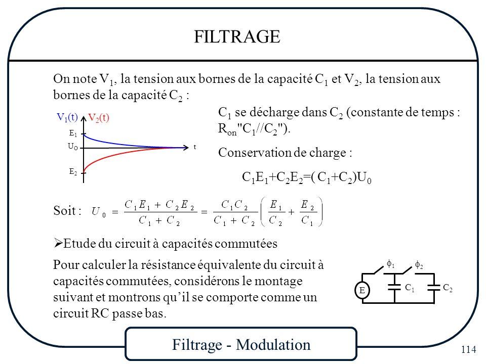 Filtrage - Modulation 114 FILTRAGE On note V 1, la tension aux bornes de la capacité C 1 et V 2, la tension aux bornes de la capacité C 2 : Soit : t U