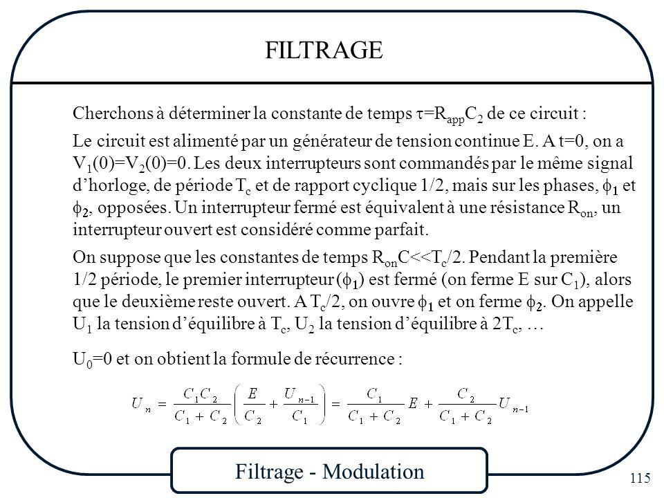 Filtrage - Modulation 115 FILTRAGE Cherchons à déterminer la constante de temps =R app C 2 de ce circuit : Le circuit est alimenté par un générateur d
