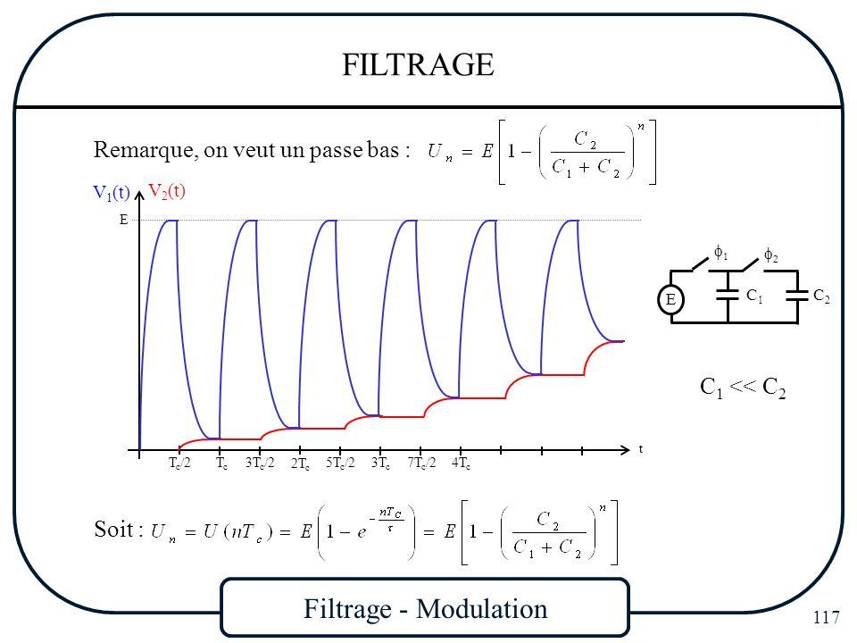 Filtrage - Modulation 117 FILTRAGE Remarque, on veut un passe bas : t E T c /2 TcTc 3T c /2 2T c 5T c /2 3T c 7T c /24T c V 1 (t) V 2 (t) C 1 << C 2 S