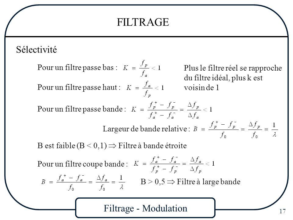 Filtrage - Modulation 17 FILTRAGE Sélectivité Pour un filtre passe bas : Pour un filtre passe haut : Plus le filtre réel se rapproche du filtre idéal,