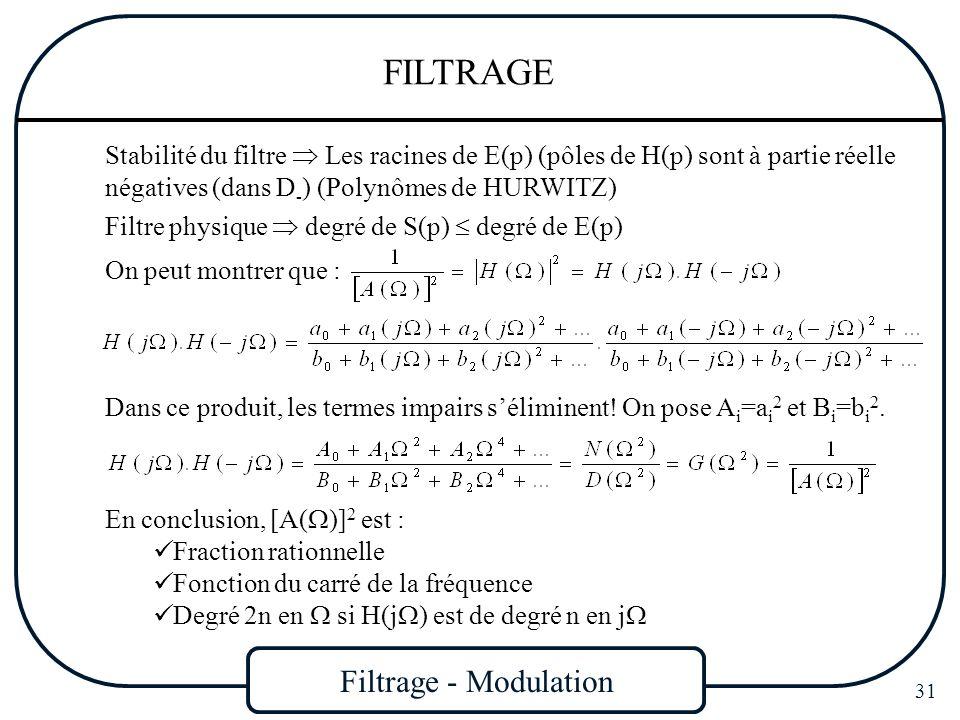 Filtrage - Modulation 31 FILTRAGE Stabilité du filtre Les racines de E(p) (pôles de H(p) sont à partie réelle négatives (dans D - ) (Polynômes de HURW