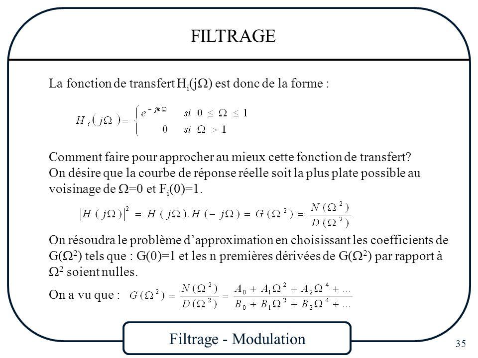 Filtrage - Modulation 35 FILTRAGE La fonction de transfert H i (j ) est donc de la forme : Comment faire pour approcher au mieux cette fonction de tra