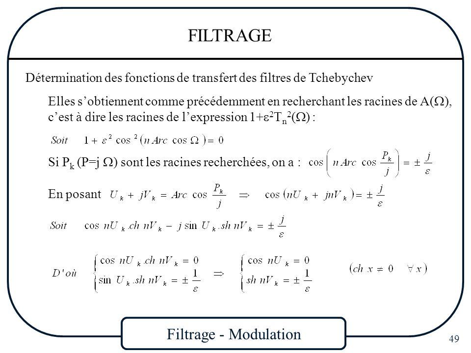 Filtrage - Modulation 49 FILTRAGE Détermination des fonctions de transfert des filtres de Tchebychev Elles sobtiennent comme précédemment en rechercha