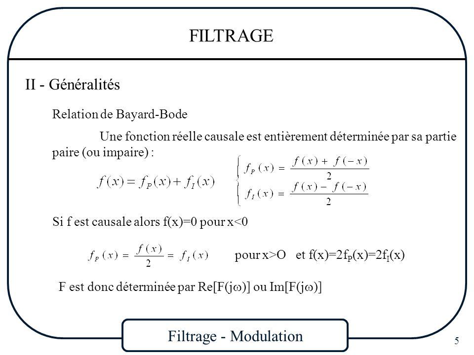 Filtrage - Modulation 46 FILTRAGE Finalement on obtient : Cette fonction correspond à un polynôme car il est possible dexprimer cos n sous la forme dun polynôme en cos Les polynômes h(x) répondant à la question sont ainsi les polynômes de Tchebychev : h(x) -1 1 x L -L Si on désigne par n le nombre, h(x) oscillera n fois entre les valeurs ±L pour -1 x 1 Soit : Les polynômes de Tchebychev sont :