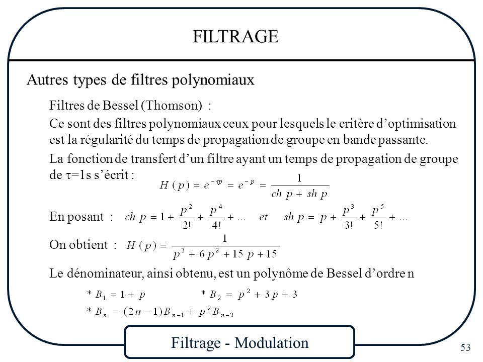 Filtrage - Modulation 53 FILTRAGE Autres types de filtres polynomiaux Filtres de Bessel (Thomson) : Ce sont des filtres polynomiaux ceux pour lesquels