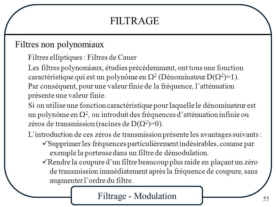 Filtrage - Modulation 55 FILTRAGE Filtres non polynomiaux Filtres elliptiques : Filtres de Cauer Les filtres polynomiaux, étudies précédemment, ont to