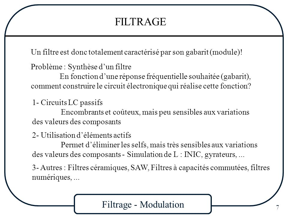 Filtrage - Modulation 8 FILTRAGE Définition générale : Filtre est défini par sa fonction de transfert En terme de tension entrée-sortie, on parle de gain (G=Vs/Ve) ou daffaiblissement (ou datténuation) (A=Ve/Vs) En dB : A( ) = - G( ) = -20 log|H(j )| En général : H(j ) est une fraction rationnelle = rapport de deux polynômes à coefficients réels : pôles et zéros de H(j ) sont réels ou par paires conjuguées pôles à gauche de laxe imaginaire (axe j exclu) pour stabilité degré du numérateur degré du dénominateur (filtres physiques) relation de Bayard-Bode valable (causal et réel) En raison de ces propriétés, il nest pas possible de passer dune façon discontinue de la bande passante à la bande coupée.
