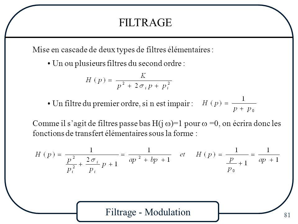 Filtrage - Modulation 81 FILTRAGE Un ou plusieurs filtres du second ordre : Mise en cascade de deux types de filtres élémentaires : Comme il sagit de