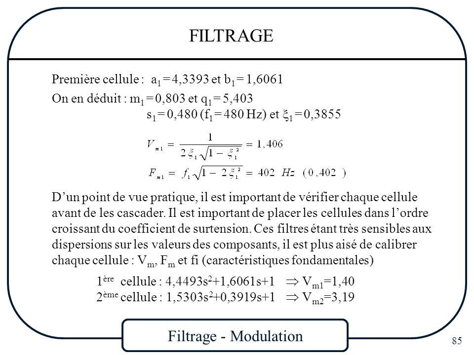 Filtrage - Modulation 85 FILTRAGE On en déduit : m 1 = 0,803 et q 1 = 5,403 s 1 = 0,480 (f 1 = 480 Hz) et 1 = 0,3855 Première cellule : a 1 = 4,3393 e