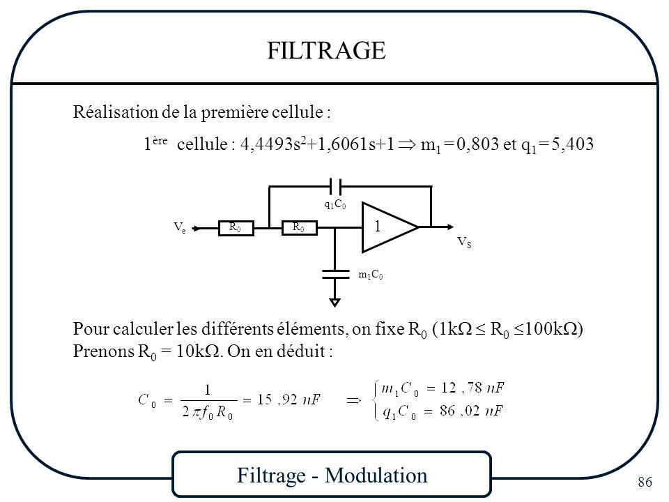 Filtrage - Modulation 86 FILTRAGE Réalisation de la première cellule : 1 ère cellule : 4,4493s 2 +1,6061s+1 m 1 = 0,803 et q 1 = 5,403 Pour calculer l