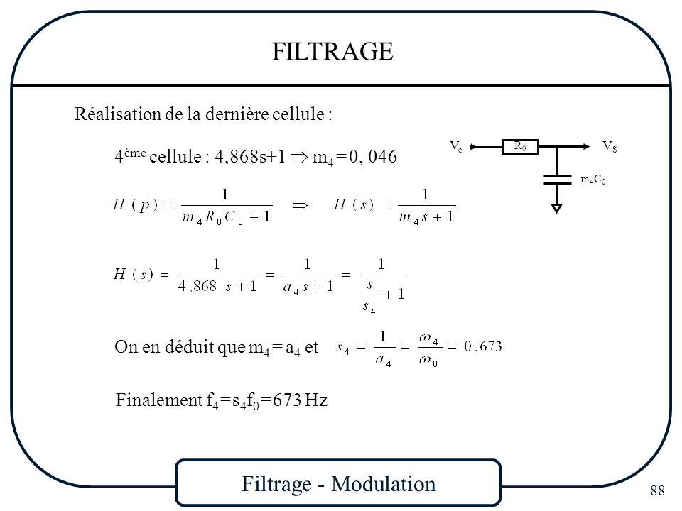 Filtrage - Modulation 88 FILTRAGE Réalisation de la dernière cellule : 4 ème cellule : 4,868s+1 m 4 = 0, 046 VSVS VeVe R0R0 m4C0m4C0 On en déduit que