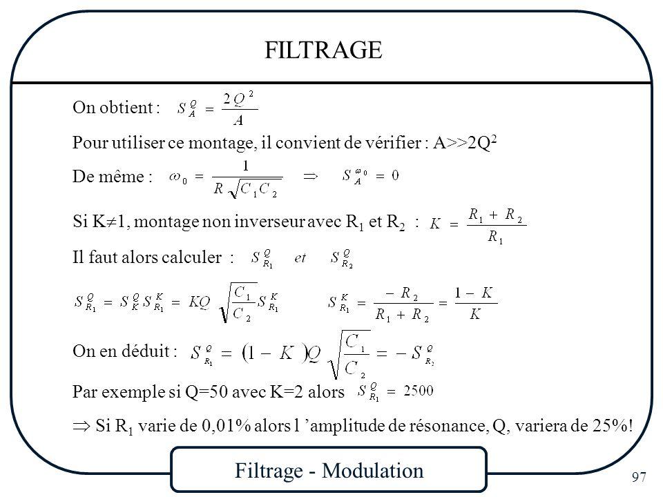 Filtrage - Modulation 97 FILTRAGE Pour utiliser ce montage, il convient de vérifier : A>>2Q 2 De même : On obtient : Si K 1, montage non inverseur ave