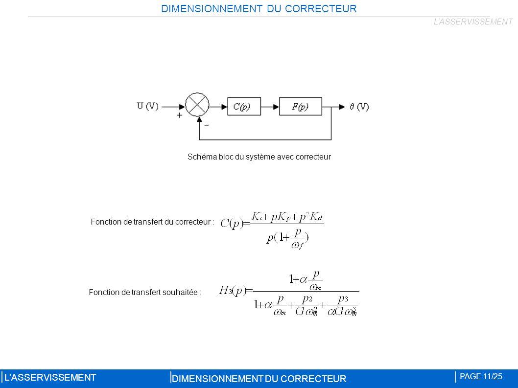 Schéma bloc du système avec correcteur Fonction de transfert du correcteur : Fonction de transfert souhaitée : DIMENSIONNEMENT DU CORRECTEUR PAGE 11/25 LASSERVISSEMENT