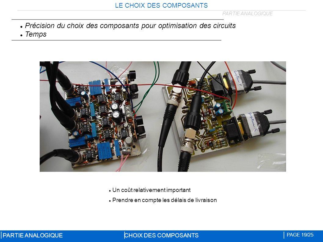 LE CHOIX DES COMPOSANTS CHOIX DES COMPOSANTS PAGE 19/25 PARTIE ANALOGIQUE Précision du choix des composants pour optimisation des circuits Temps Un coût relativement important Prendre en compte les délais de livraison PARTIE ANALOGIQUE