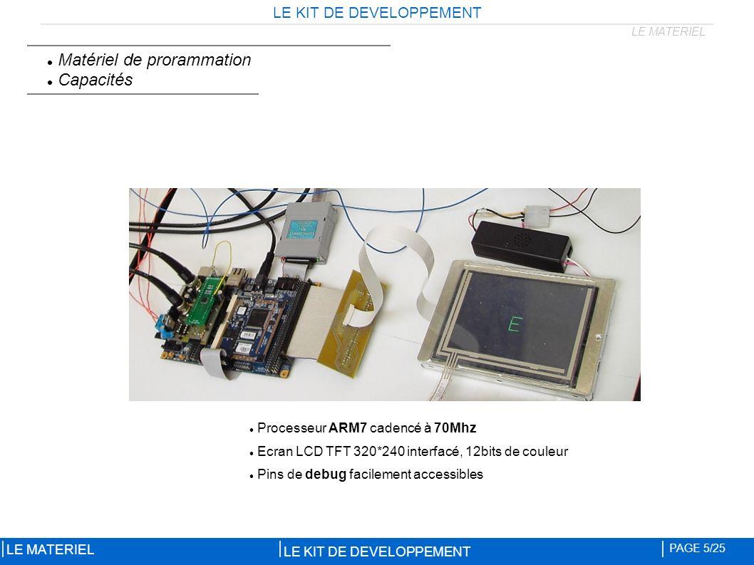 LE KIT DE DEVELOPPEMENT PAGE 5/25 LE MATERIEL Matériel de prorammation Capacités Processeur ARM7 cadencé à 70Mhz Ecran LCD TFT 320*240 interfacé, 12bits de couleur Pins de debug facilement accessibles LE MATERIEL