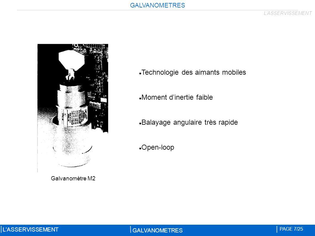 GALVANOMETRES PAGE 7/25 LASSERVISSEMENT Technologie des aimants mobiles Moment dinertie faible Balayage angulaire très rapide Open-loop Galvanomètre M2