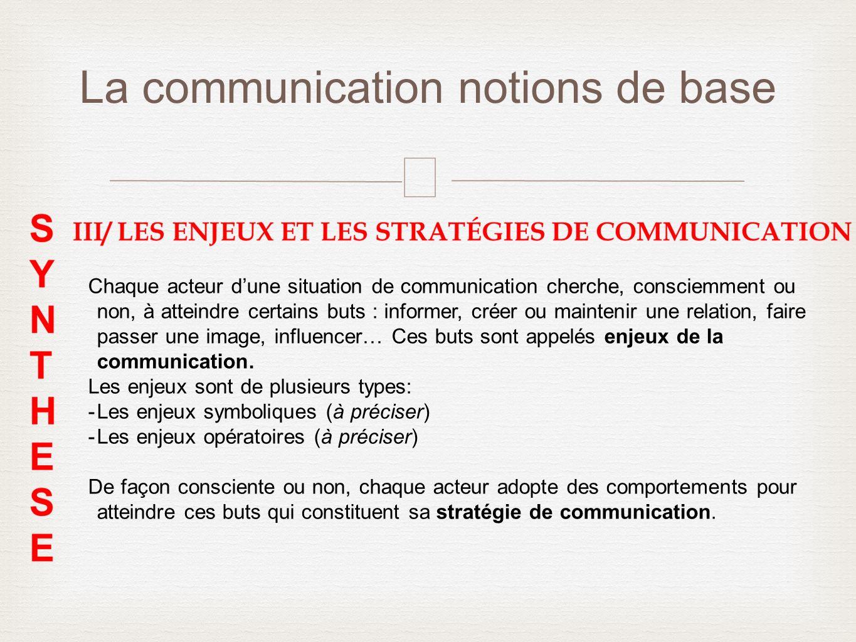 – La communication notions de base Chaque acteur dune situation de communication cherche, consciemment ou non, à atteindre certains buts : informer, c
