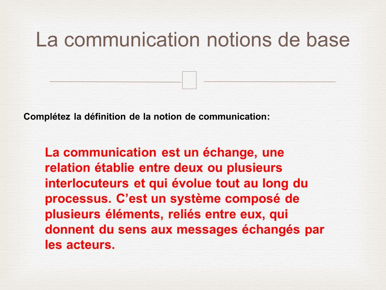 – La communication notions de base Complétez la définition de la notion de communication: La communication est un échange, une relation établie entre