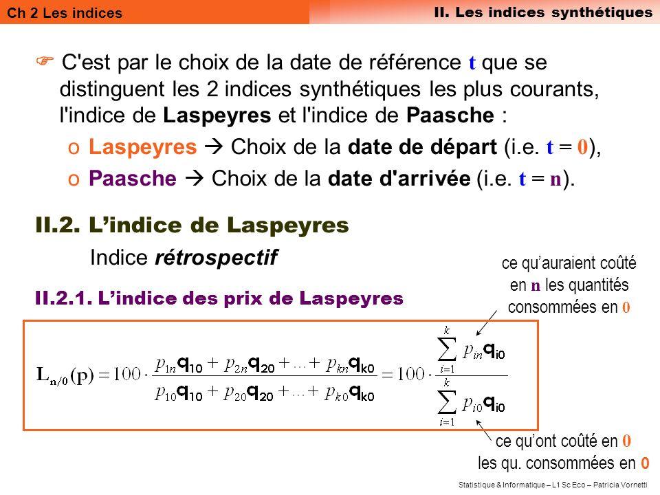 Ch 2 Les indices II. Les indices synthétiques Statistique & Informatique – L1 Sc Eco – Patricia Vornetti C'est par le choix de la date de référence t