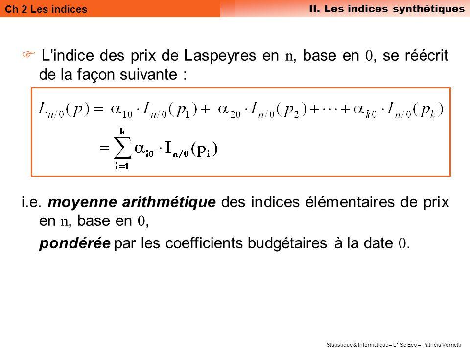 Ch 2 Les indices II. Les indices synthétiques Statistique & Informatique – L1 Sc Eco – Patricia Vornetti L'indice des prix de Laspeyres en n, base en