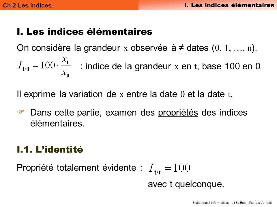 Ch 2 Les indices I. Les indices élémentaires Statistique & Informatique – L1 Sc Eco – Patricia Vornetti I. Les indices élémentaires On considère la gr