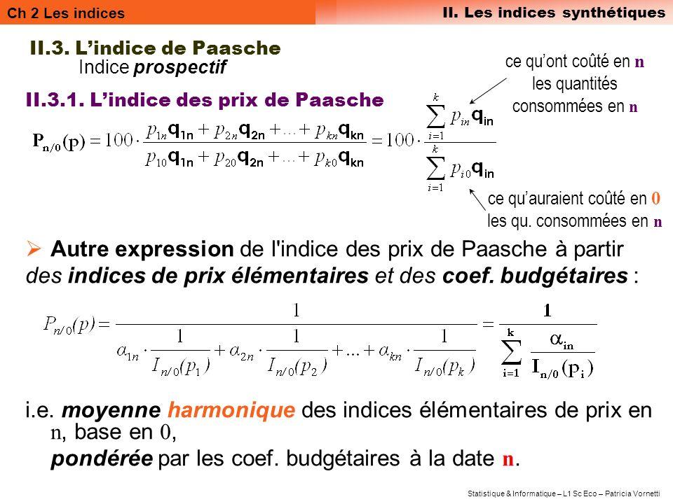 Ch 2 Les indices II. Les indices synthétiques Statistique & Informatique – L1 Sc Eco – Patricia Vornetti II.3. Lindice de Paasche Indice prospectif II