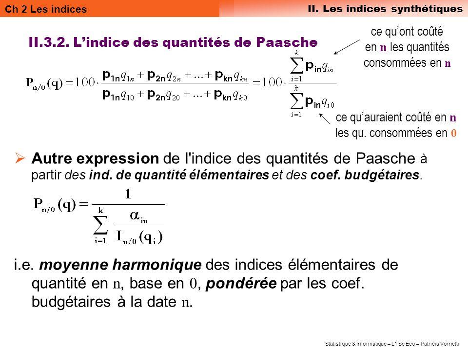 Ch 2 Les indices II. Les indices synthétiques Statistique & Informatique – L1 Sc Eco – Patricia Vornetti II.3.2. Lindice des quantités de Paasche Autr