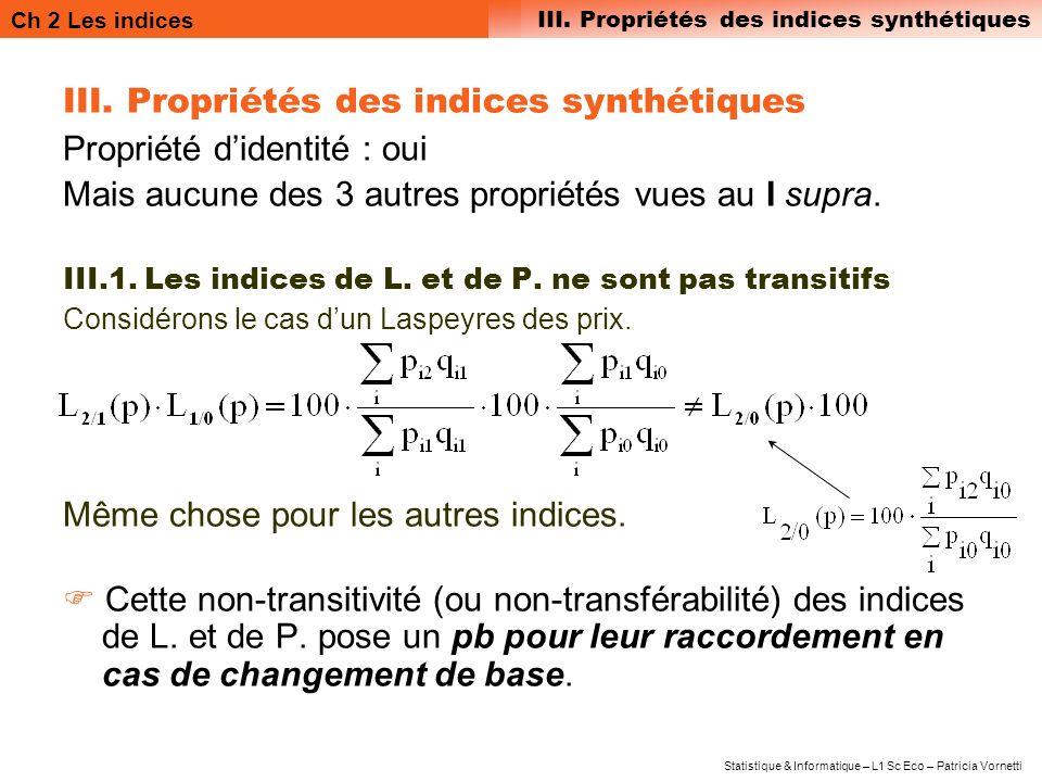 Ch 2 Les indices III. Propriétés des indices synthétiques Statistique & Informatique – L1 Sc Eco – Patricia Vornetti III. Propriétés des indices synth