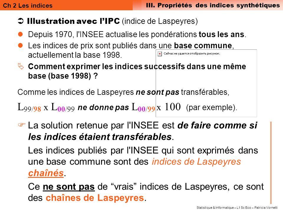 Ch 2 Les indices III. Propriétés des indices synthétiques Statistique & Informatique – L1 Sc Eco – Patricia Vornetti Illustration avec lIPC (indice de