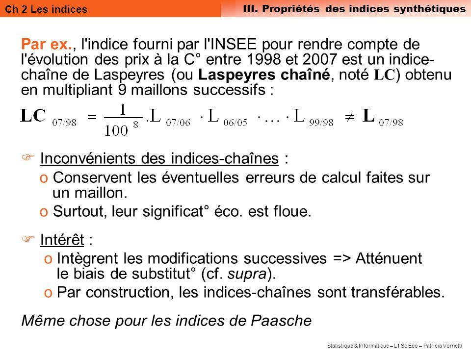 Ch 2 Les indices III. Propriétés des indices synthétiques Statistique & Informatique – L1 Sc Eco – Patricia Vornetti Par ex., l'indice fourni par l'IN