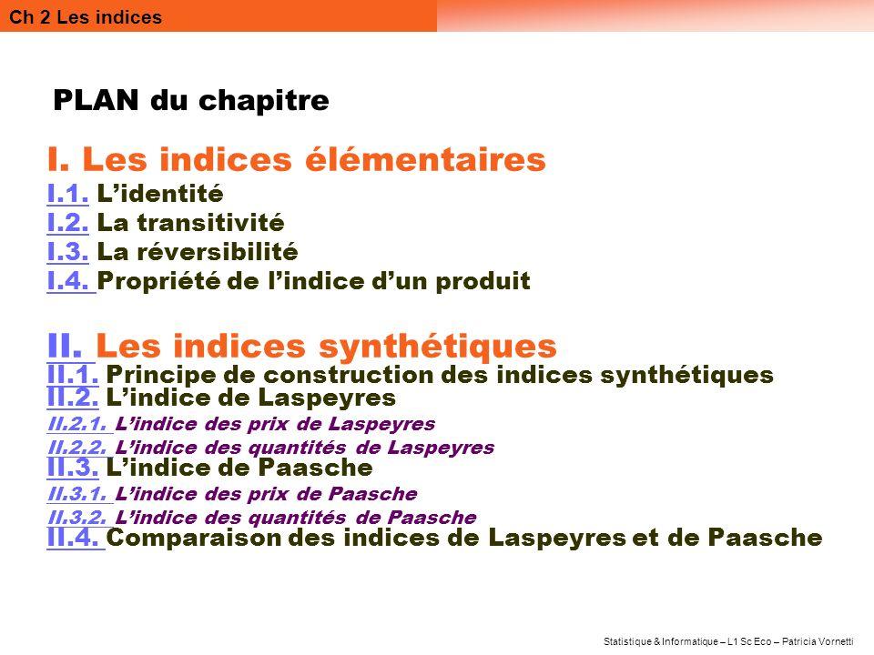 Ch 2 Les indices Statistique & Informatique – L1 Sc Eco – Patricia Vornetti PLAN du chapitre I. Les indices élémentaires I.1.I.1. Lidentité I.2.I.2. L