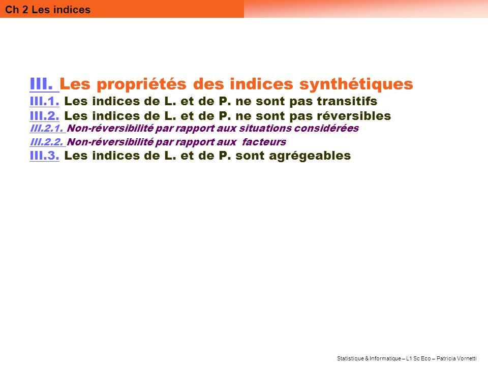 Ch 2 Les indices Statistique & Informatique – L1 Sc Eco – Patricia Vornetti III. III. Les propriétés des indices synthétiques III.1.III.1. Les indices