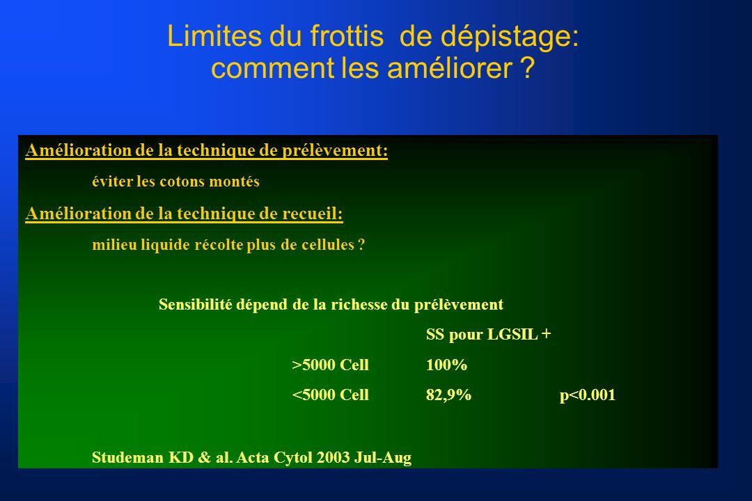 Limites du frottis de dépistage: comment les améliorer .