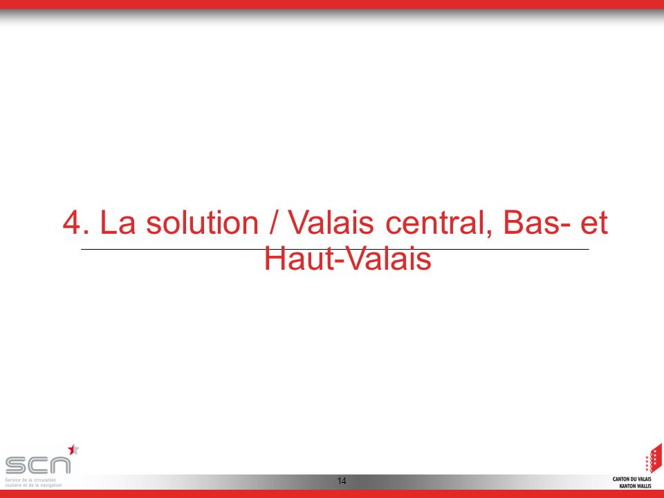 14 4. La solution / Valais central, Bas- et Haut-Valais