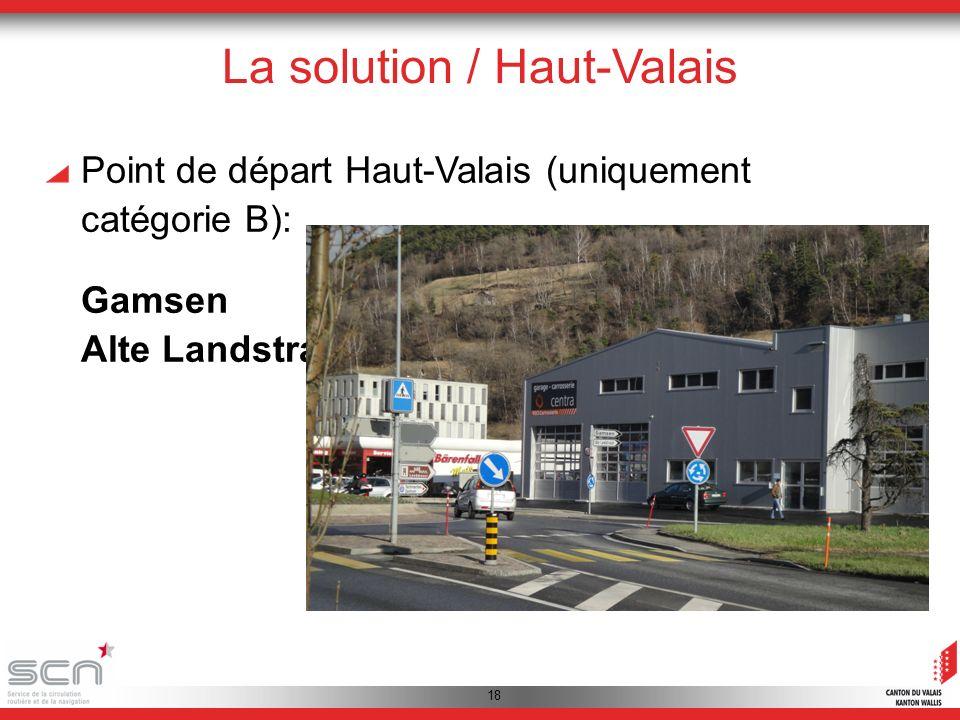 18 La solution / Haut-Valais Point de départ Haut-Valais (uniquement catégorie B): Gamsen Alte Landstrasse 1