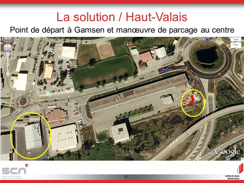 19 La solution / Haut-Valais Point de départ à Gamsen et manœuvre de parcage au centre dentretien dautoroute A9