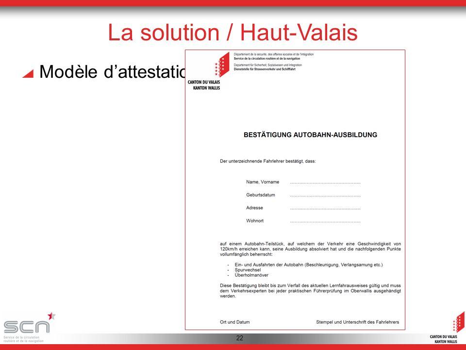 22 La solution / Haut-Valais Modèle dattestation: