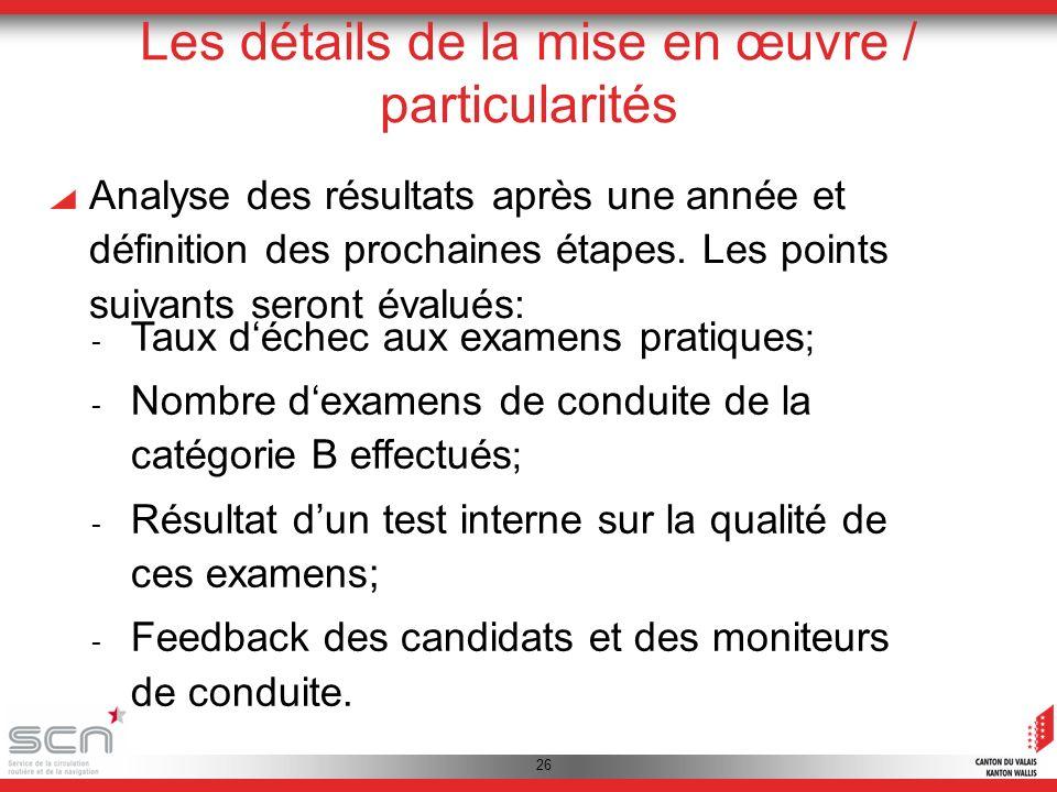 26 Les détails de la mise en œuvre / particularités Analyse des résultats après une année et définition des prochaines étapes.
