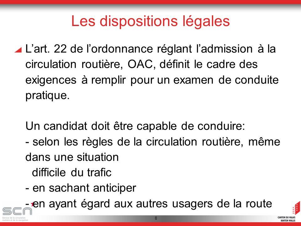 9 Les dispositions légales Lannexe 12 de lordonnance réglant ladmission à la circulation routière, OAC, précise les manœuvres qui doivent être maîtrisées.
